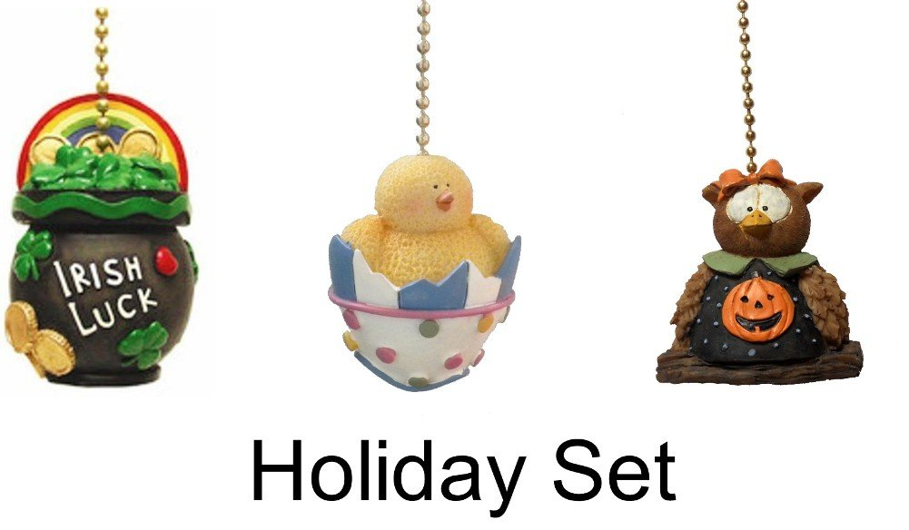 St. Patrick's Day rainbow pot of gold - Easter egg spring Chick - Halloween pumpkin Fall Owl - Holiday decor Ceiling FAN PULL light chain extender SET of 3 pieces