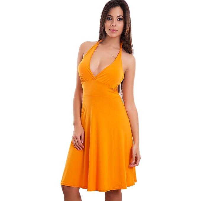 ea9e3772fb98 Toocool - Miniabito Donna Vestito Ballo Danza Copricostume Scollo v Pin up  Nuovo CC-938 [Taglia Unica,Arancione]: Amazon.it: Abbigliamento
