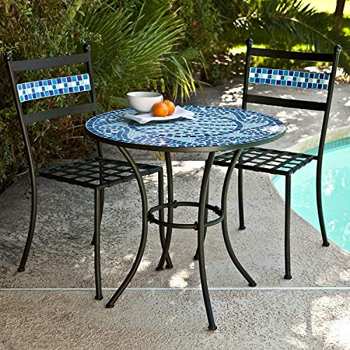 Outdoor Living Ocean Waves Blue Mosaic Wrought Iron Small Space Patio Dining Set Bistro Set