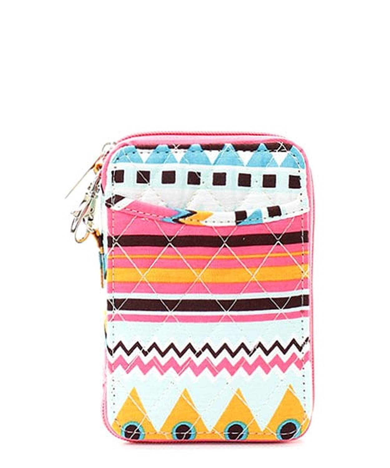 Aztec Southwestern Print Quilted Mini Wallet Wristlet Pink