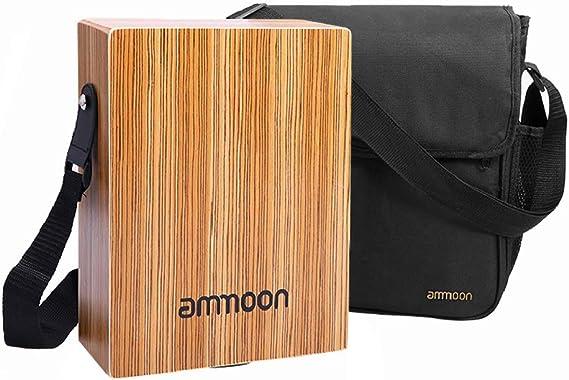 ammoon Cajón Flamenco Adulto, Mini Caja de Tambor Plana, Tambor de Mano Portátil de Viaje, Instrumento de Percusión Arbolado con Correa, Bolsa de ...