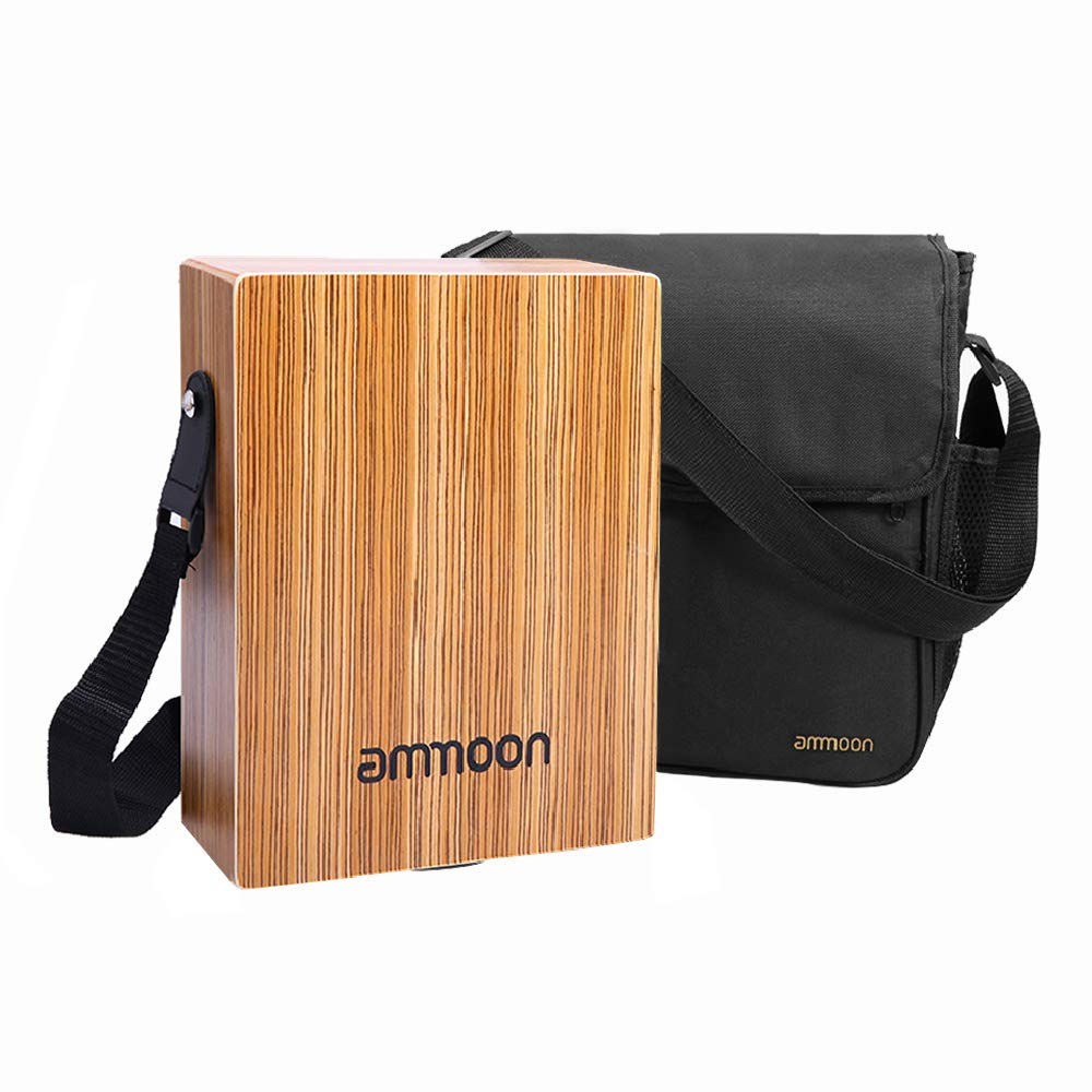 ammoon Cajon Box Drum Stringed Persussion Instrument with Bag, Shoulder Strap (Portable Cajon) by ammoon