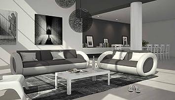 Sofa Garnitur Mit Kunstleder Bezug Grau / Weiß 230x92 Cm | Nassiono | Design  Couch