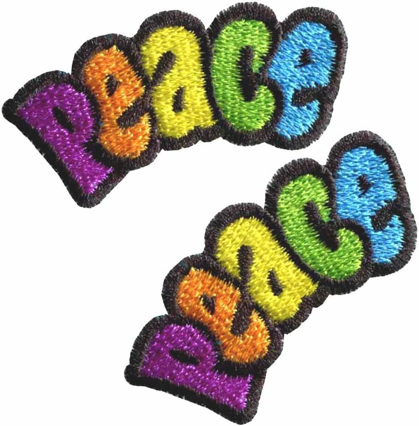 70s Vintage Peace Sign Hippie Embroidery Iron on Patches Sticker Applique Badge