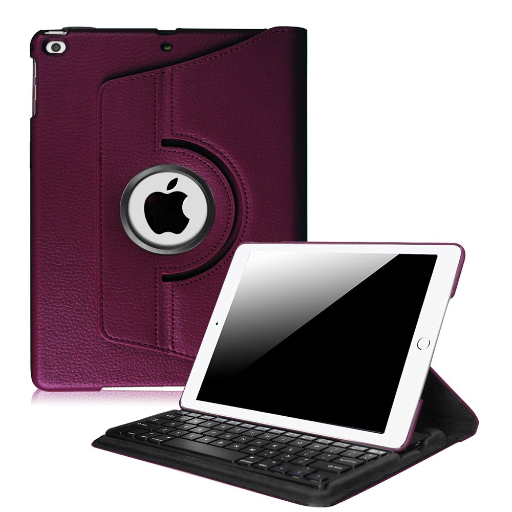 Fintie iPad 9.7 inch 2018 2017/iPad Air 2/iPad Air Keyboard Case - 360 Degree Rotating Stand Cover Built-in Wireless Bluetooth Keyboard for Apple iPad 9.7''/iPad Air 2/iPad Air, Purple