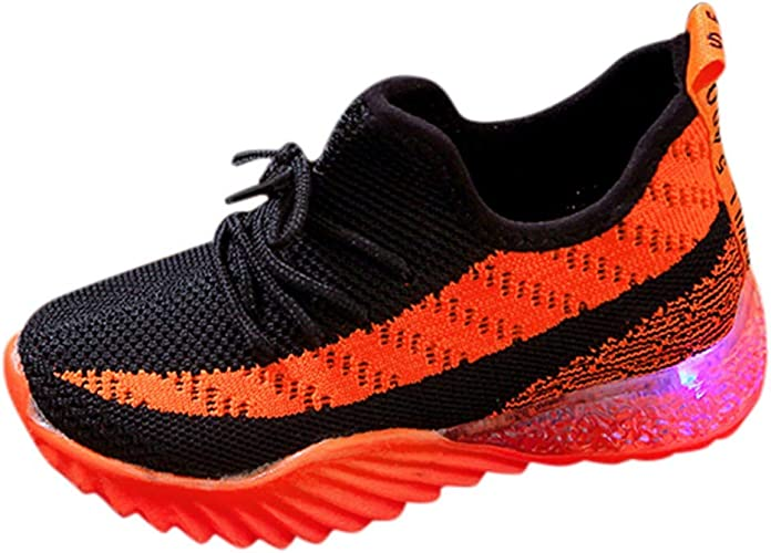 Kids Toddler Baby Boy Girl Sports Running Shoes LED light Children Mesh Sneakers