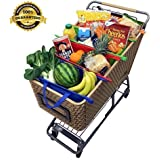Reusable Grocery Bags For Trolley Set of 4 With Insulated Cooler Bag - Stylish, Extra Strong, Cart Grab totes, Detachable & Foldable + Free Bonuses - 5 Pcs White mesh bags & 22 Saving Tips E-Book