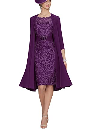 a38569ea9eb Graceprom Women s Knee Length Mother of The Bride Dresses with Jacket Lace  Evening Gowns 2 Grape