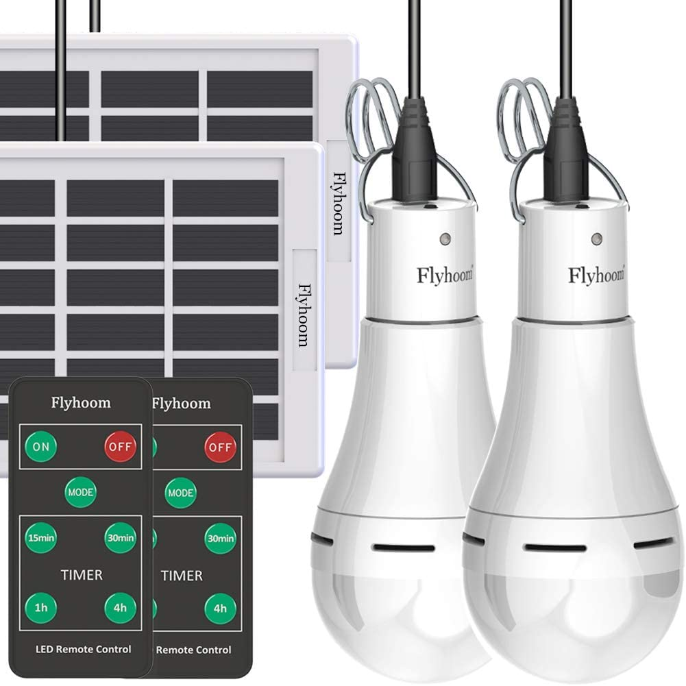 Flyhoom Solar Powered Light Bulbs Outdoor Rechargeable, Portable 180LM Solar Emergency LED Bulb with Remote for Indoor, Power Outage, Hurricane, No Electricity Areas