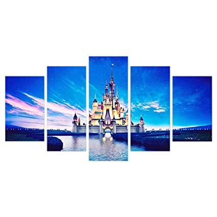 SODIAL 5Pcs//Set,DIY Full Square Diamond Painting,Stitch Cross,5 Panel Movie Castle Landscapes Diamond Embroidery Bedroom Decor Art