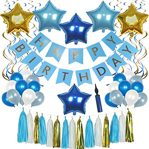 Blue 58-Piece Happy Birthday Decoration Set with Free INFLATOR, Chic Banner, Foil Balloons, Latex Balloons, Swirls, and Tassel