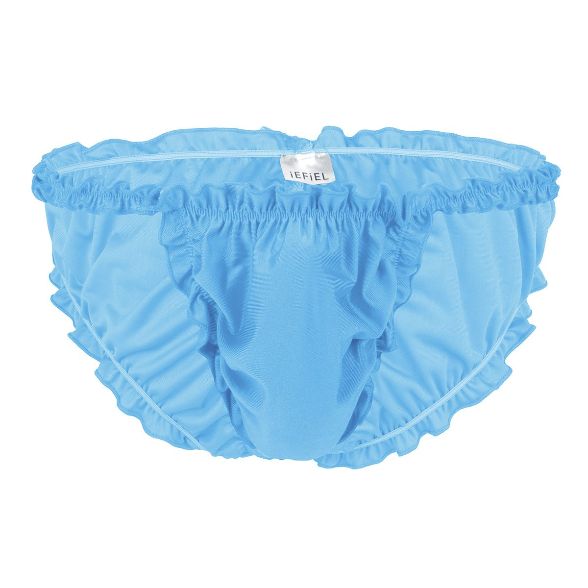 iEFiEL Mens Soft Satin Ruffled Frilly Silky Sissy Thong Briefs Feminine Underwear