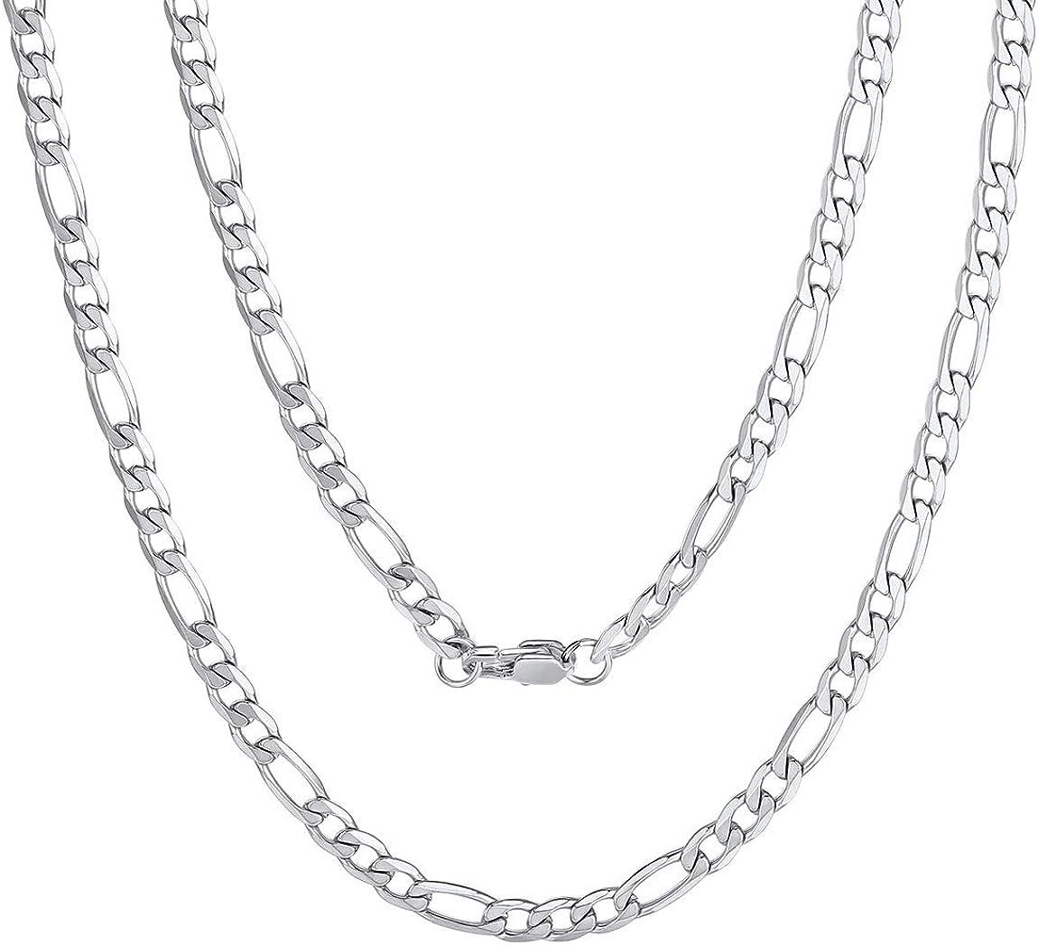 14-30 pollici ChainsPro Catena Figaro collana da donna da uomo in acciaio inossidabile 316L // placcato in oro 18k // nero larghezza 4mm
