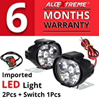 AllExtreme EX6FS2P SHILAN Imported 6 LED Fog Light Mirror Mount Driving Spot Head Lamp with Switch for Motorcycle and Cars (10W, White, 2 PCS)