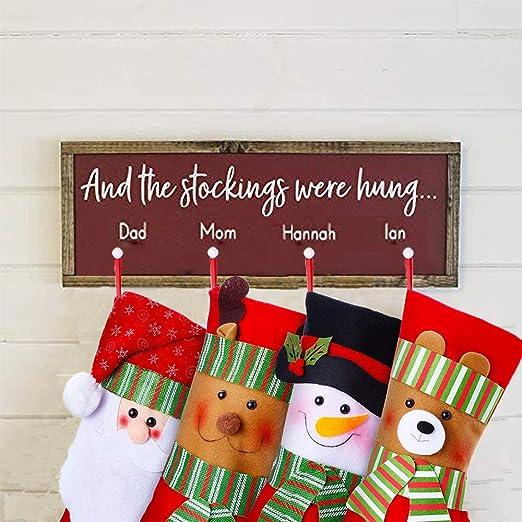 YQing 4PC Calcetin Navidad Año Nuevo Medias Decoración, 15 Pulgada Calcetines Navideños Christmas Stockings Navidad calcetines a cuadros de Santa Claus ...