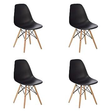 SKLUM Silla Estilo nórdico - Pack de 4 sillas nórdicas - Negro