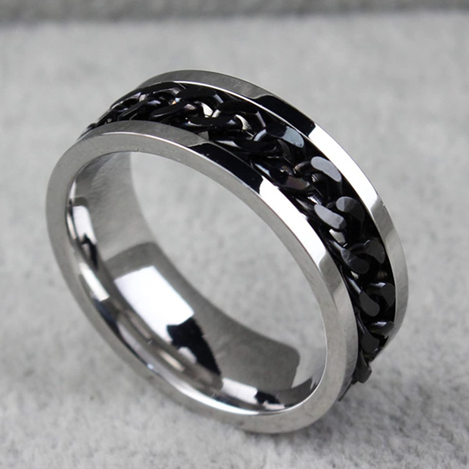 HooAMI Mens Stainless Steel Cuban Spin Link Chain Ring Spinner Ring