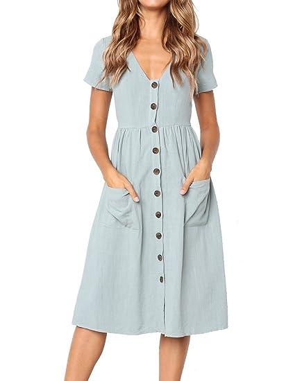 5fd6b7754e59 Voopptaw Women's Summer Short Sleeve Solid Color Button Down Swing Midi  Dress Sky Blue Medium