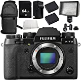 Fujifilm X-T2 Mirrorless Digital Camera (Body Only) 8PC Accessory Bundle – Includes 64GB SD Memory Card + 2x Replacement Batteries + MORE (Certified Refurbished)