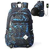 School Sports Laptop Backpack 15.6' Yogaw Bookbag with a USB Charging Port Water Resistant Blue