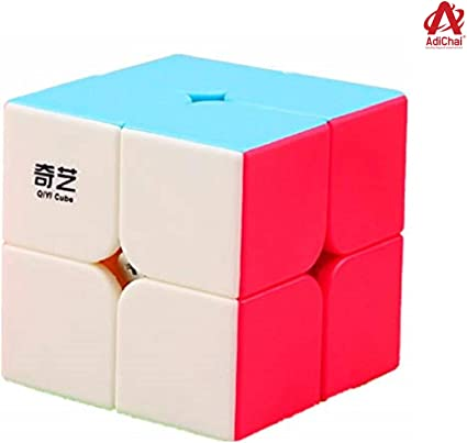 Adichai Rubik QiYi 2x2 High Speed Stickerless Magic Rubic Rubix Cube Puzzle Toy Game for Kids (Multicolor)