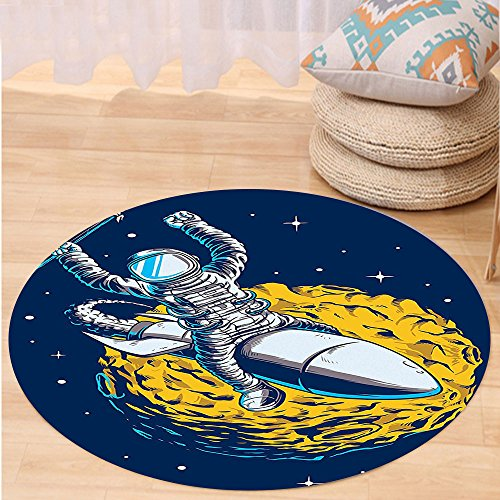Niasjnfu Chen Custom carpetOuter Space Decor Cosmonaut Celebrates His Victory Top of a Rocket over Planet Mars Design for Bedroom Living Room Dorm Yellow (Used Victory Hammer)
