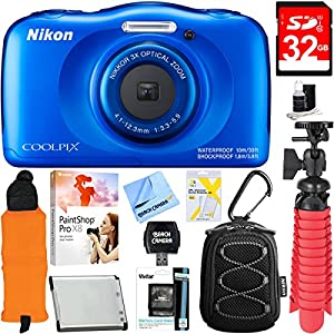Nikon COOLPIX W100 13.2MP Waterproof Digital Camera (Blue) + 32GB Class 10 UHS-1 SDHC Memory Card + Accessory Bundle