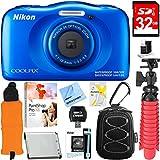 Nikon COOLPIX W100 13.2MP Waterproof Digital Camera (Blue) + 32GB SDHC High Speed Memory Card + Accessory Bundle