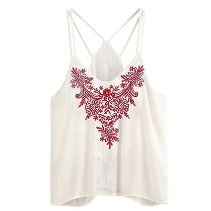 Camisetas mujer,❤️Ba Zha Hei blusa Tanque bordado sin mangas para mujerTops Mujer La