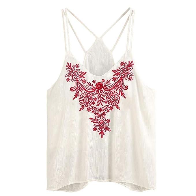 Camisetas mujer,❤️Ba Zha Hei blusa Tanque bordado sin mangas para mujerTops Mujer La correa del sujetador de encaje envuelta sexy camisetas Camisa corta ...
