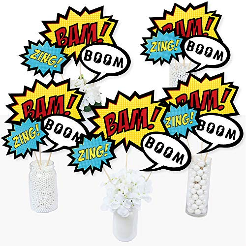 BAM! Superhero - Baby Shower or Birthday Party Centerpiece Sticks - Table Toppers - Set of -