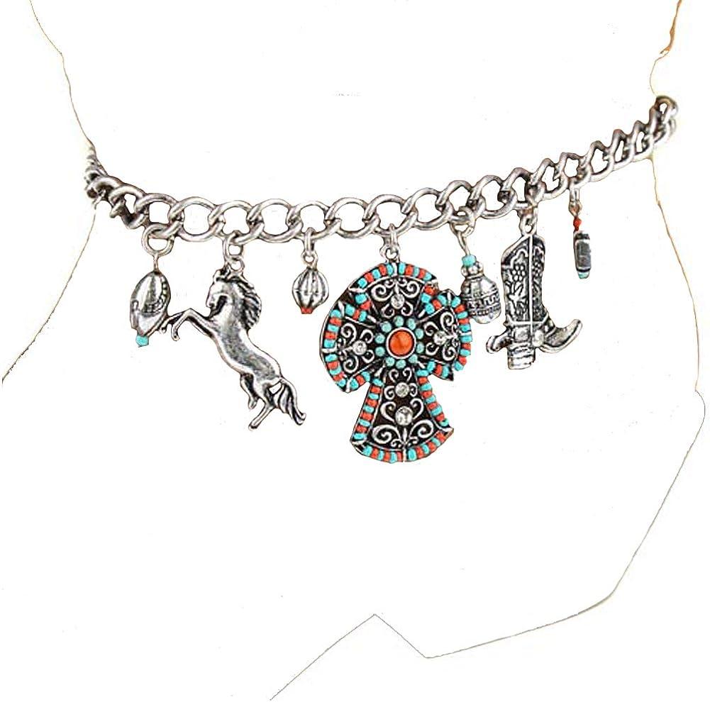 Women Silver Boot Bracelet Anklet Chain Metal Cross Western Shoe Charm Turquoise