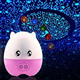 LIWUYOU Creative Lovely Pig Shape USB Projection Lamp Star LED Projector Night Light with Speaker Remote Control,Blue Green Red White Orange 5 Colors Changing, Pink