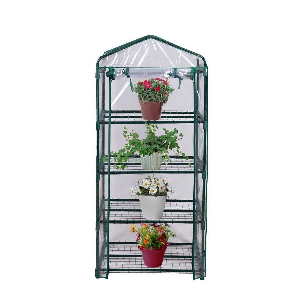 FORUP Mini Greenhouse 4 Tier, 27'' L x 19'' W x 62'' H (Green)