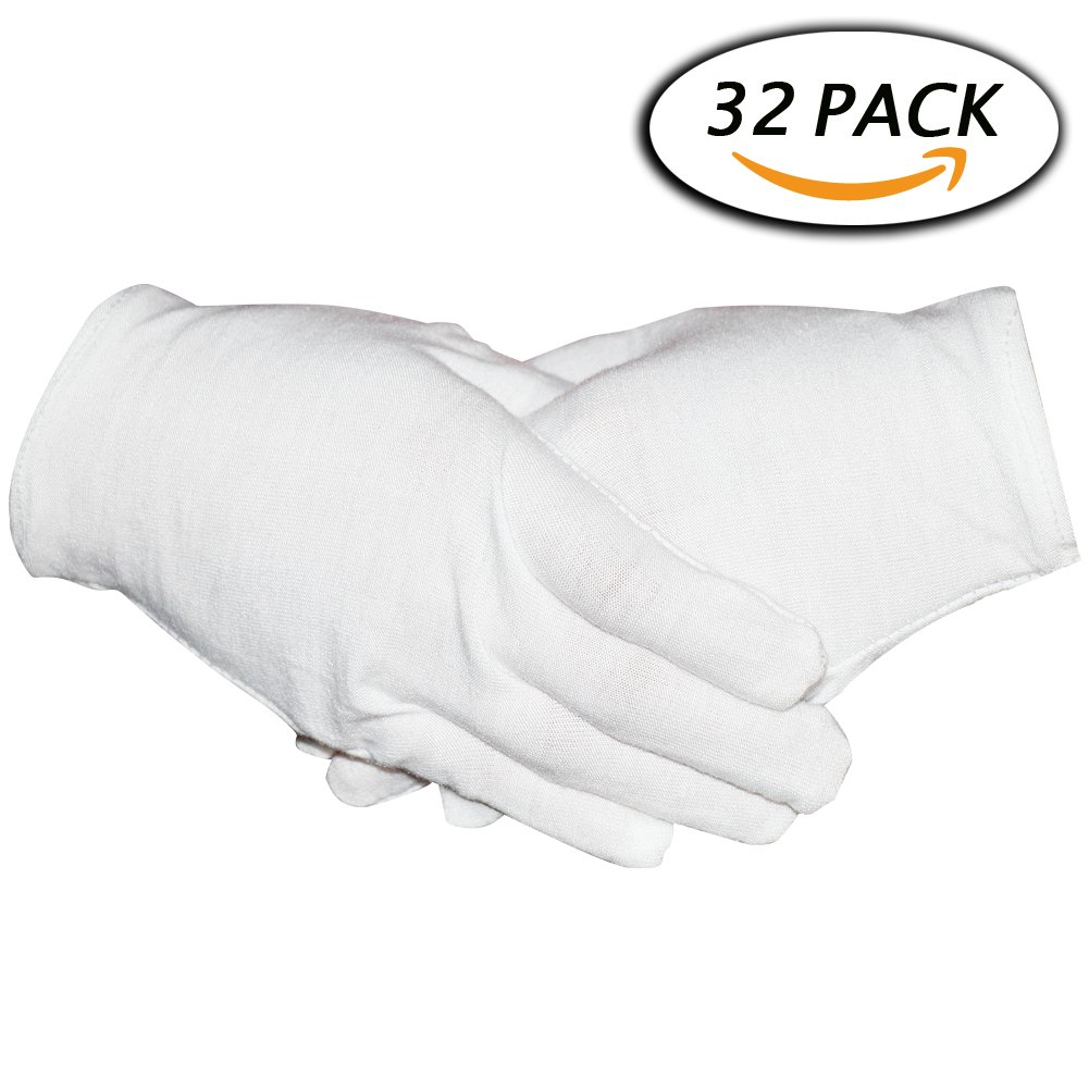 16 Pairs White Cotton Gloves 8' Medium Size for Coin Jewelry Silver Inspection by Paxcoo WCG-001