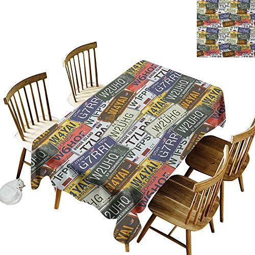 - kangkaishi Oil-Resistant and Durable Long Tablecloth Kitchen Available Retro American Auto License Plates Utah Washington Rhode Island North Carolina Print W14 x L108 Inch Multicolor
