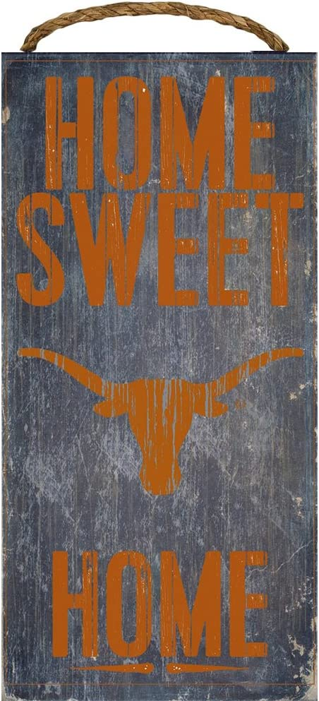 Texas Longhorns Wood Sign - Home Sweet Home 6''x12''