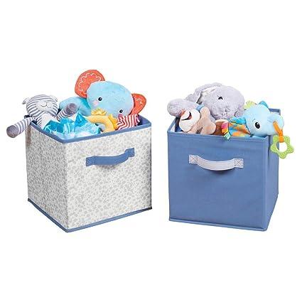 mDesign Juego de 2 cajas de tela para ordenar armarios – Organizadores de juguetes o del