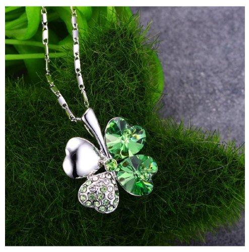 KATGI Fashion White Gold Plated Austrian Crystal Lucky Four Leaf Clover Pendant Necklace