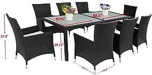 husen Luxury Wicker Patio Indoor Outdoor Dinner Table Furniture Set (9 pcs)