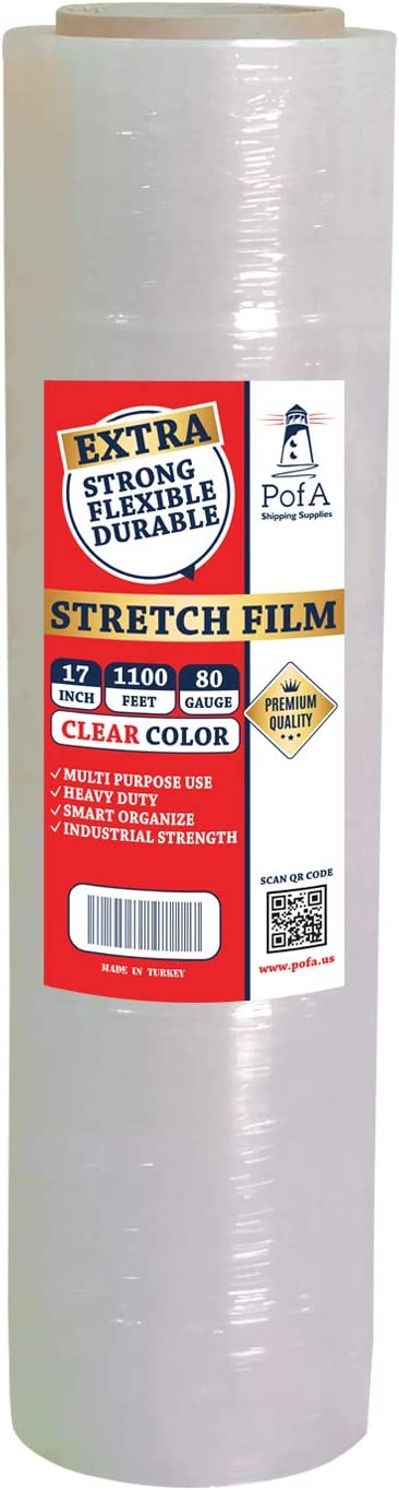 Stretch Film Plastic Wrap Roll - Clear, 17 Inch x 1100 Feet x 80 Gauge (20 Micron), 1 Pack, Industrial Heavy Duty Shrink Wrap for Packing, Shipping, Pallet, Cling, Furniture, Moving Supplies by PofA