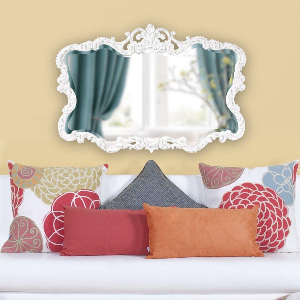 Howard Elliott Talida Mirror, Ornate Wall Focal Point, Resin Frame, Matte White, 27 Inch x 38 Inch x 1 Inch