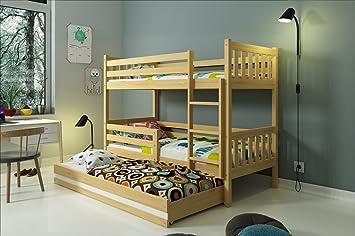 INTERBEDS LITERA Infantil Triple (3 Camas) 190x80, CARINO, colchones incluidos! (Pino): Amazon.es: Hogar