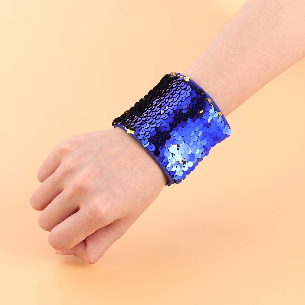 Mermaid Bracelet Tinksky Reversible Charm Sequins Slap Wristband Bracelet Magic Calming Bracelets for Birthday Party Favors Royal Blue and Golden