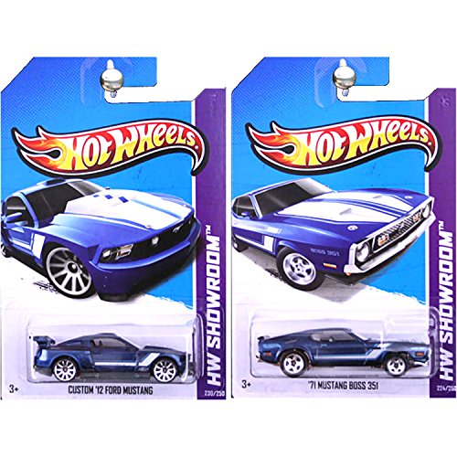 Hot Wheels 2013 Then and Now 1971 Ford Mustang Boss 351 and Custom 2012 Blue SET OF 2