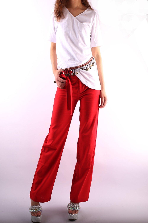 Women's Cotton Linen Wide Leg Pants Red