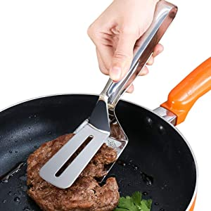 Emoly Steak Clamps Pizza Clip Fish Gripper -304 Stainless Steel Handy Flipper-Flipping Burgers, Eggs, Steakand Pancakes Food Tongs Spatula Tongs