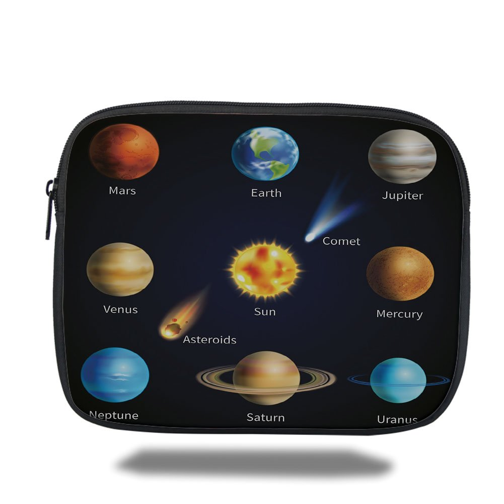 Laptop Sleeve Case,Educational,Realistic Solar System Planets and Space Objects Asteroids Comet Universe Space,Multicolor,iPad Bag
