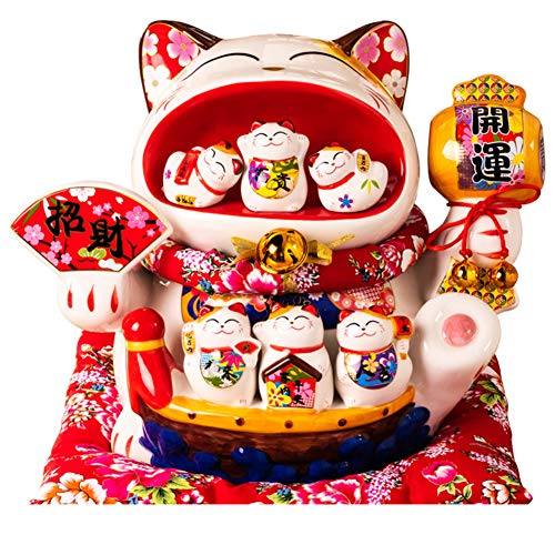 GE&YOBBY Ceramic Large Piggy Bank,Creative Big Mouth Maneki Neko with 6 Small Cats Piggy Bank Lucky Cat Decor Best Gift for Business Opening,feng Shui Decor-a 32x25x28cm(13x10x11inch)