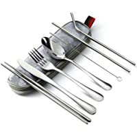 Portable Reusable Travel Utensils Silverware with Case Travel Camping Cutlery Set 8-Piece Including Knife Fork Spoon…